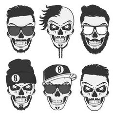 Vintage stylish skulls set for emblems,logo,tattoo,labels and design.