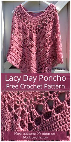 Lacy Day Poncho - Free Crochet Pattern #freecrochetpatterns #crochet #ponchos #style #diy
