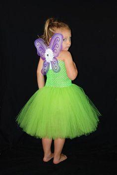 Tinkerbell Tutu Dress Costume  Includes Wings  by KenziesTreasures