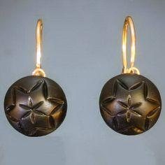Victorian black French jet golden mourning earrings