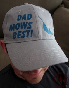 66dbd839931 The Scrap Shoppe  Dad Mows Best! hat using heat transfer  amp  Silhouette  image