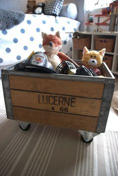 vintage crate storage or toy box with wheels