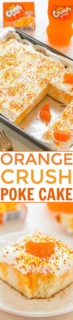 Orange Crush Poke Cake - Bold Orange Crush flavor in this EASY cake that's super moist and light!! The kid in all of us will LOVE this orange tie-dyed cake!!