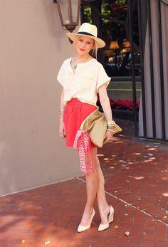 Top: H&M. Skirt: Zara. Shoes: Pour La Victorie. Bag: American Apparel. Sash: Lilly Pulitzer. Hat: H&M. Jewelry: Michael Kors, David Yurman, Pomellato, AE, Jcrew., Max&Chloe, BR. Lips: Make Up For Ever Professional #41.