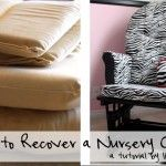 Reupholstering a Nursery Rocker glider and ottoman tutorial