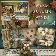 Warm Autumn Winds ~ Add-on Bundle ~ by Jumpstart Designs Digital scrapbook kits $