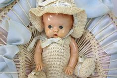 Vintage 40s Celluloid Baby Doll Pillow Doll w Pink & by dixiepearl