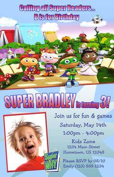 DIY PRINTABLE - Super Why Birthday Photo Party Invitations $12.00