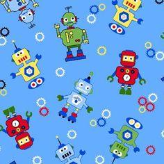 Robots Robot Vintage Style Robots Canvas Cotton Fabric 55 inch 140cm