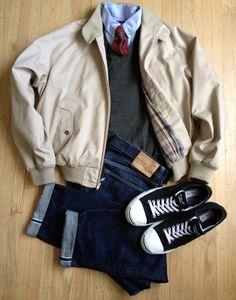 Nordstrom Harrington Jacket (super-nice jacket, silk bemberg lining in sleeves, horn buttons, etc.), thrifted...