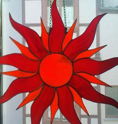 Tiffany Sonne .Pure Handarbeit. Free Mosaic Patterns, Stained Glass Projects, Mobiles, Wood Crafts, Xmas, Moon, Etsy, Craft Ideas, Paper