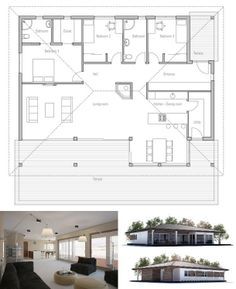 Simple & affordable small house plan with open plan and three bedrooms.  I would want to vault the ceiling to follow the roof line.