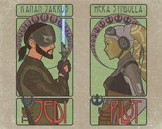 Rebels Nouveau Kanan Jarrus and Hera Syndulla from Star Wars: Rebels. This started out as Tarot cards but somewhere along the way got hijacked by Alphonse Mucha. Star Wars Film, Star Wars Clone Wars, Star Wars Rebels, Star Wars Art, Kanan And Hera, Disneysea Tokyo, Sw Rebels, Pokemon, Star War 3