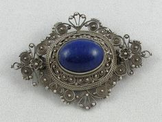 Victorian Silver Filigree and Lapis Lazuli by PastAccoutrementals, $189.00
