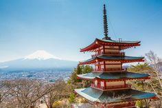 Fuji mountain and red pagoda by Pushish Images on @creativemarket