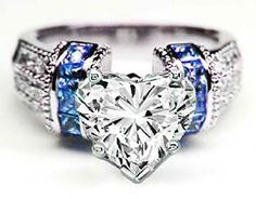Heart Shape Diamond Engagement Ring Square Blue Sapphire Band in 14K White Gold - ES101HSBS
