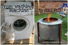 Home Made Fire Pit: Up-cycled Washing Machine!  Not sure if I would do exactly this, but that drum on an old washer has to be good for something, right?