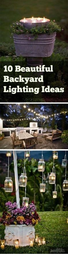 Here are outdoor lighting ideas for your yard to help you create the perfect nighttime entertaining space. outdoor lighting ideas, backyard lighting ideas, frontyard lighting ideas, diy lighting ideas, best for your garden and home Backyard Projects, Outdoor Projects, Backyard Patio, Backyard Landscaping, Backyard Ideas, Diy Projects, Wedding Backyard, Diy Patio, Patio Ideas