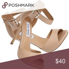 """Steve Madden Mogull Heels Steve Madden Mogull Heels in Cream. Great condition, worn less than 5 times!!   4.5"""" heel, adjustable strap with buckle closure, leather upper/synthetic lining and sole. Steve Madden Shoes Heels"""