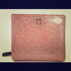 "♠️Kate Spade Glitter Serenade Rose Gold Miniwallet Super Glam !!! Rose Gold glitter Kate Spade Mavis Street Serenade mini wallet. Snap closure.  4 card slots plus a window for your ID.  3.75""L 3.25"" H   .75 wide kate spade Bags Wallets"