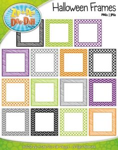 FREE Halloween Square Frame Borders Clip Art — Includes 30