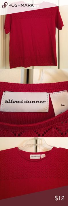 Alfred Dunner short sleeved sweater Lovely lightweight sweater knit shirt. Deep red and in like new condition. Generous XL Alfred Dunner Tops Blouses