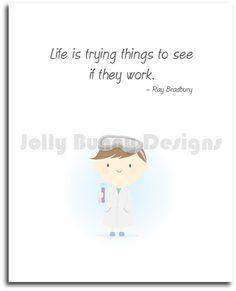 Cute Scientist Poster #CuteWallArt #WallArt #Poster #Illustration #Etsy