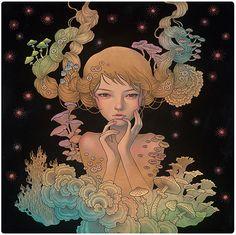 Aubrey Kawasaki - Ink, Oil Paint, Graphite on Wood