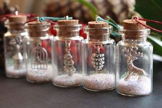 Christmas tree decorations Christmas tree ornaments glitter bottles Christmas gift Christmas decoration Reindeer gift small bottles GBP) by GallaghersBoutique Decorations Christmas, Diy Christmas Ornaments, Homemade Christmas, Christmas Projects, Holiday Crafts, Christmas Holidays, Small Christmas Gifts, Etsy Christmas, Miniature Christmas