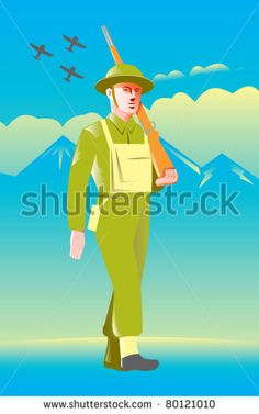illustration of a British World War two soldier with rifle marching with airplanes flying, mountains and clouds in background - stock vector #soldier #retro #illustration