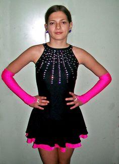 Negro y fucsia rosa Vestido de patinaje con guantes para por Fadmes