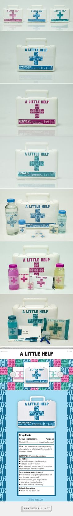 A Little Help kit packaging on Behance by Stacy Kamin Curated by Packaging Diva PD. A Little Help is a company that sells humorous first aid kits for the college student : )