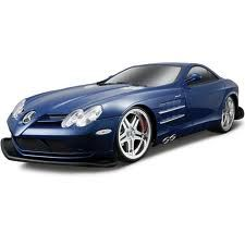 The Maisto RC Mercedes Benz SLR McLaren in 1/10 scale is a superbly detailed model of this great car. This R/C model car is part of the new R/C range from Maisto. It comes with a three channel radio and glowing engine and translucent engine cover, and is available in either blue or gold.