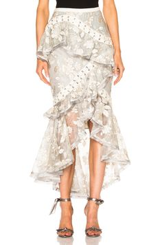 Image 1 of Zimmermann Stranded Embroidery Skirt in Ash