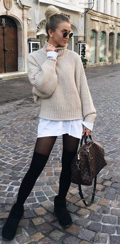 how to style a nude sweater : white shirt dress   bag   over knee socks   boots