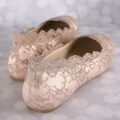 Wedding Shoes, Blush Wedding Shoes, Wedding Shoe Flats, Gold Lace Wedding, Bling Wedding Shoes, Blush Wedding Ideas, Bridal Lace Shoes