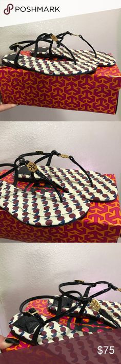 TORY BURCH 8.5 THONG STYLE LEATHER SANDALS SHOES 100% Authentic Tory BURCH sandals Tory Burch Shoes