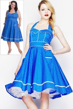 Vanda Blue Polkadot Rockabilly Dress by Hell Bunny