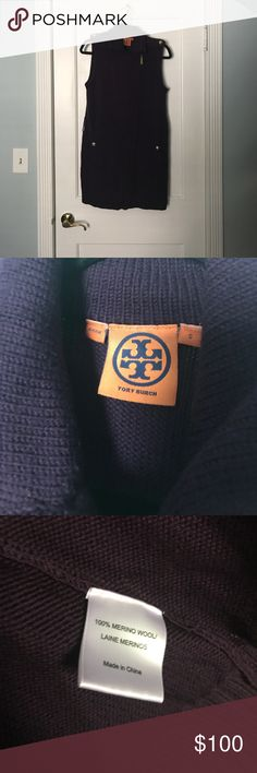 Tory Burch Sleeveless Zip Up Sweater Gently used, in great condition, the zipper works great. Feature 4 gold fashion buttons that all say Tory Burch. Color is plumb purple. Tory Burch Tops