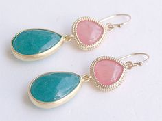 Pink and Green Earrings  Drop Earrings  Bezel Set by FiveThirty, $25.00