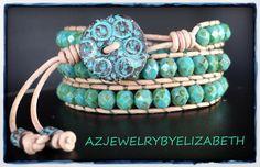 Blue Wrap Bracelet Leather Bracelet Beaded by AZJEWELRYBYELIZABETH