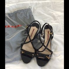 Prada sandals with dust bag worn once Black patten leather Prada Shoes Sandals