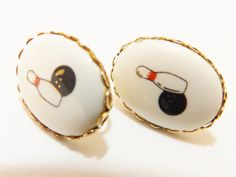 Vintage Bowling Pin and Ball Gold Tone Enamel by TheEarringPlace