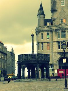 Aberdeen. Scotland. Only spent about 45 minutes here in a mad dash looking for food. Called 'The Granite City.'