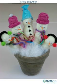 These adorable snowmen are made from a little knit glove. They are so cute and easy to make!