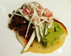 Jicama Soft Taco with Jalapeno Guacamole and Jicama Slaw