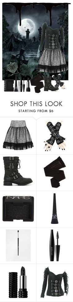 """Things You See in a Graveyard"" by june-batty ❤ liked on Polyvore featuring Alice by Temperley, Shoe Cult, Trasparenze, NARS Cosmetics, Maybelline, Stila, MAKE UP FOR EVER and Kat Von D"