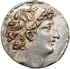 Seleukid Kingdom. Antiochos VIII Epiphanes. Silver Tetradrachm (16.48 g), sole reign, 121/0-97/6 BC. Ake-Ptolemaïs, ca. 121/0-113 BC. Diademed head of Antiochos VIII right. BAΣIΛEΩΣ / ANTIOΧOV in two lines on right, EΠI-ΦANOVΣ on left, Zeus Ouranios, draped, standing facing, head left, holding star and scepter; above, crescent; to outer left, monogram; all within laurel wreath. SC 2336.2a; LSM 35; HGC 9, 1197h. Traces of luster present. . Estimated Value $700 - 800. #Coins #Ancient #Greek…