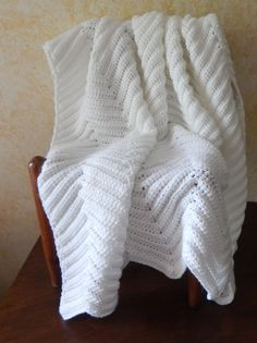 Crochet Afghan Blanket - Home Decor Throw - French Country Throw - Chevron Throw - Soft Neutral Antique White Chevron Stitch by CdCkDesign on Etsy