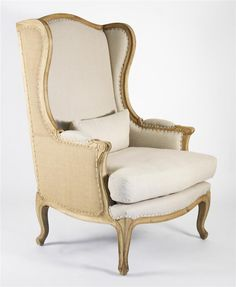 Leon French Country High Back Linen Wing Chair $1,440